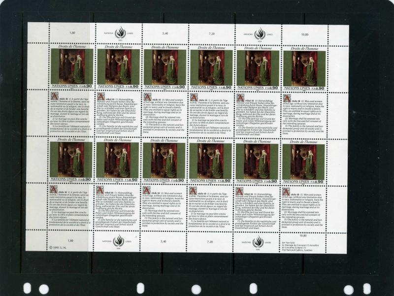 UNITED NATIONS GENEVA 1991 PAINTINGS 2 SHEETS OF 12 STAMPS & 12 LABELS MNH