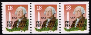 US STAMP #2149 18¢ George Washington and Monument Coil PL#33333 STRIP OF 33