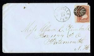 SC# 65 3c 1861 TIED BY FANCY LEAF CANCEL TO COVER, NASHVILLE TEN. JUL 19 PMK