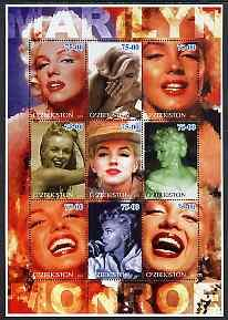 Uzbekistan 2002 Marilyn Monroe #1 perf sheetlet containin...
