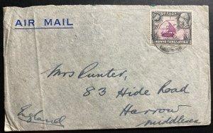 1946 Tanga Tanganyika British KUT Airmail Cover to Harrow England
