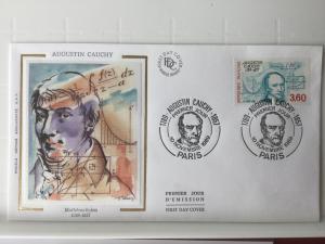 France Colorano silk FDC, 10 novembre 1989, Augustin Cauchy 1789-1857 Paris
