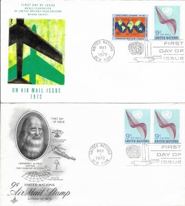 1972 Air Mail FDC, #C15 (NY), Air Mail Issue, 2 diff. cachets