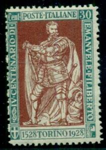 ITALY #203b 30c blue green & red brown, perf 13 1/2 NH, Scott $87.10