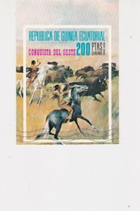 Republic of Equatorial Guinea Indians on Horseback Cattle Stamps Sheet Ref 25089