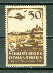 SWITZERLAND SCARCE 1924 AIR  VIGNETTE ..ROMANS-HORN-ZURICH FLIGHT...MINT