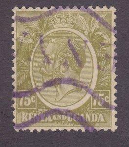 Kenya Uganda & Tanzania 28 Used 1922 75c Olive Bister KGV Issue Very Fine