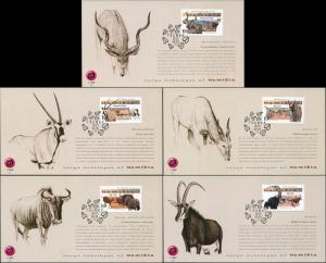 Namibia. 2013. Large Antelopes of Namibia (Mint) Set of 5 Maxi Cards