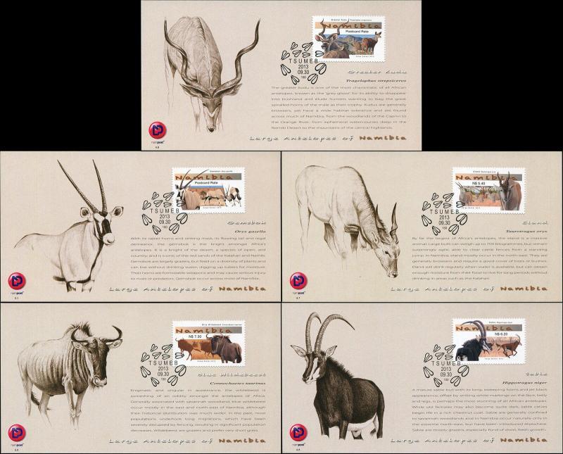 Namibia. 2013. Large Antelopes of Namibia (Mint) Set of 5 Maxi Cards