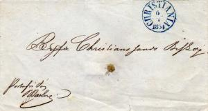 Norway Christiania 1854 blue serifed cds on Stampless Folded Letter Domestic ...