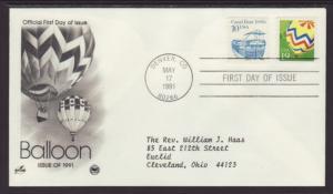 US Balloon 1991 PCS Typed FDC BIN