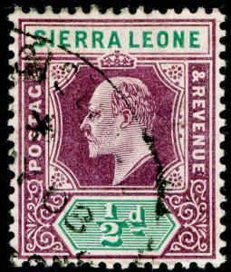 SIERRA LEONE SG86, ½d dull purple & green, FINE USED. WMK MULT CA