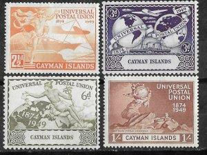 Cayman Is. # 118-21  U.P.U. Anniversary 1949     (4)    VF Unused VLH
