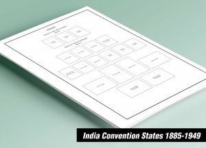 PRINTED INDIA CONVENTION STATES 1885-1949 STAMP ALBUM PAGES (55 pages)