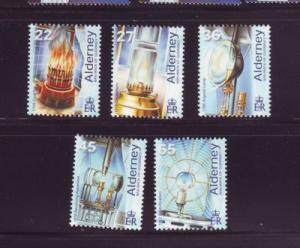 Alderney Sc 191-5 2002 Les Casquets Lighthouse set mint NH