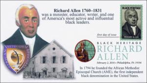 2016, Richard Allen, FDC, Digital Color Postmark, Black Heritage, 16-039