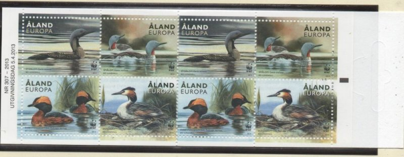 Aland Sc 340e 2013 WWF Ducks stamp booklet pane in booklet mint NH