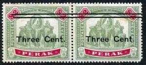 Perak SG87 1900 3c on 2 Dollar Pair Fiscal used