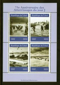CHAD  2019  75th ANNIVERSARY OF D DAY  SHEET OF FOUR  MINT NH