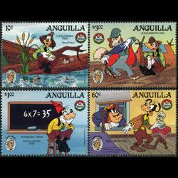 ANGUILLA 1985 - Scott# 653-5 Disney-Mark Twain Set of 4 NH