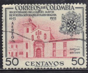 COLOMBIA  SC# C266 **USED** 50c  1954      SEE SCAN