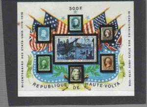 BURKINA FASO #358 1976 AMERICAN BICENTENNIAL MINT VF NH O.G CTO S/S c
