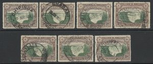Southern Rhodesia, Scott 31 (SG 29), seven different cancels