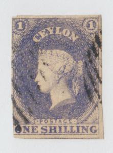 Ceylon Sc 11, SG 10 used. 1857 1sh violet QV, imperf, sound, almost VF