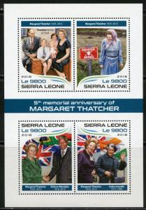SIERRA  LEONE 2018  5th  MEMORIAL ANNIVERSARY OF MARAGARET THATCHER SHT  MINT NH