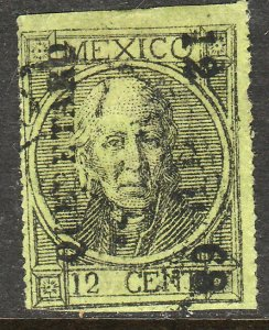 MEXICO-Queretaro 53, 12¢ 12-68 USED THIN FIGURES W/O DOT. F-VF. (87)