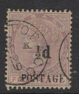 TOBAGO SG33 1896 ½d on 4d LILAC & CARMINE USED