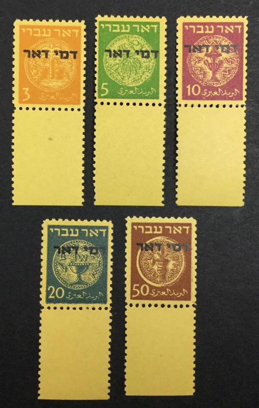 MOMEN: ISRAEL #J1-5 FULL TABS GENUINE MINT OG NH CAT. $2,750