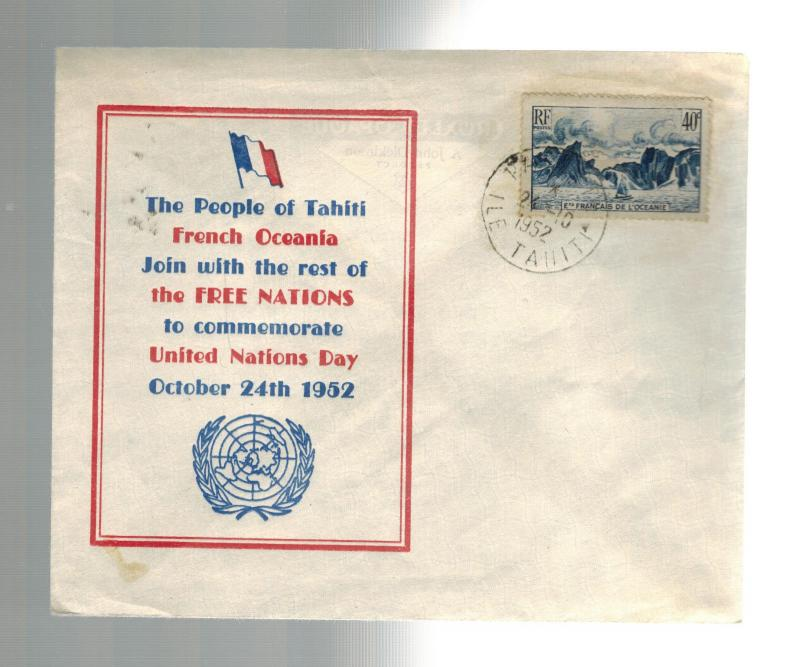 1952 Papeete Tahiti Cover Commemorates United Nations Day UN