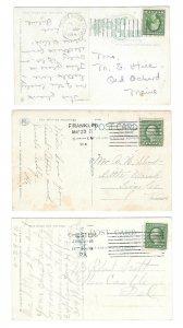 3 PA Machine Cancels on Postcards 2 Columbia 8 bar1 Doremus
