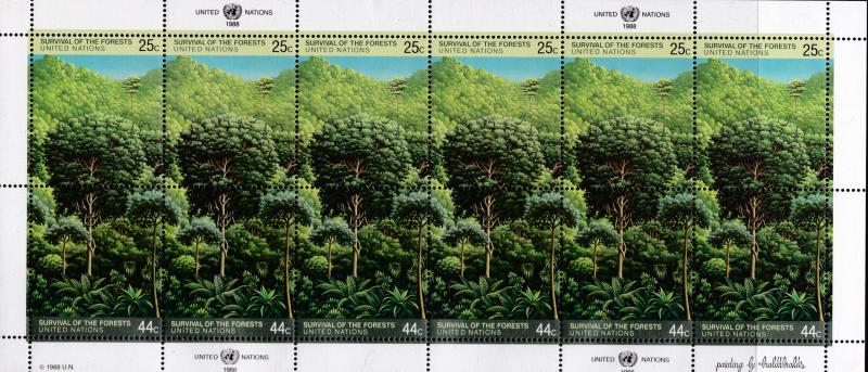 United Nations 1988 Survival of the Forests Sheets (3) all Offices VF/NH