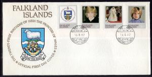 Falkland Islands 348-351 Princess Diana U/A FDC