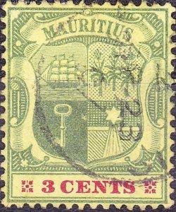 MAURITIUS 1902 KEDVII 3c Green & Carmine/Yellow SG140 Used