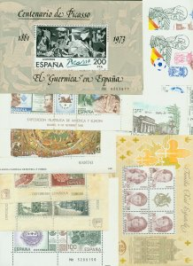 SPAIN, GROUP OF 10 SOUV. SHEETS INCL. GUERNICA, ROYAL FAM, SOCCER CUP. MNH. VF.