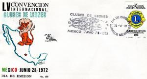 MEXICO 1972  INTERNATIONAL CONVENTION LIONS CLUB FDC Sc1040