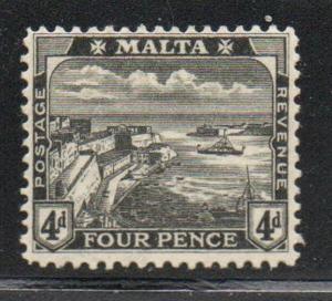 Malta Sc 63 1915 4d black Valetta Harbour stamp mint