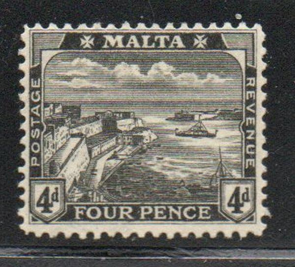 Malta Sc 63 1915 4d black Valetta Harbour stamp mint