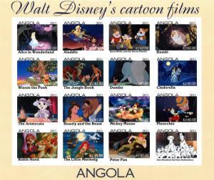 ANGOLA SHEET IMPERF CINDERELLA DISNEY CARTOON FILMS DUMBO