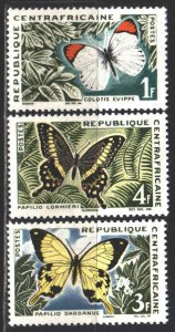 Central African Republic. 1963. 42-44 from the series. Butterflies. MNH.