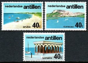 Netherlands Antilles 378-380, MNH. Tourist Publicity. Beaches, 1976