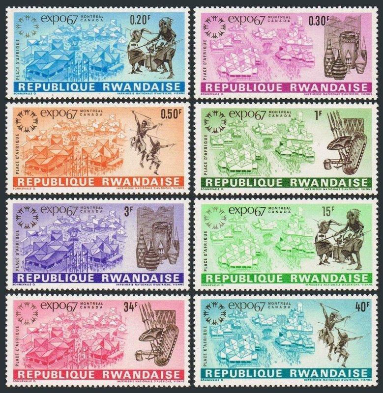 Rwanda 225-232,MNH.Michel 232-239. EXPO-1967,Montreal.Dancers,Drummers,Vessels,