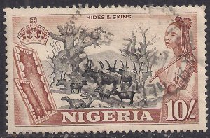 Nigeria 1953 QE2 10/-d Black & Brown used SG 79 ( 307 )