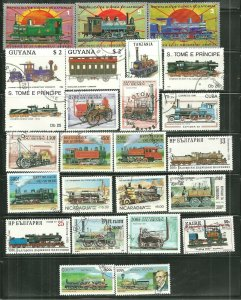 STEAM ENGINES LOCOMOTIVES Topicals 25 Used Mixture