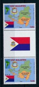 [SM001B] St. Martin Maarten 2010 Flag Maps Coat of arms Gutter pair Flag  MNH