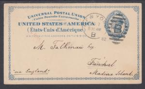 US Sc UX6 used 1879 2c Liberty Postal Card to Funchal