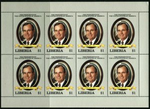 Liberia #1113 George Bush $1 Sheet of 8 Stamps Postage 1989 Mint NH